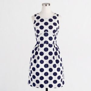 J. Crew White with navy polka dot dress
